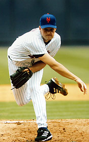 Aaron Heilman pitching for the Mets