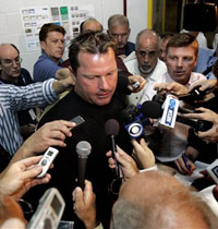 Roger Clemens talks to reporters in Port St. Lucie