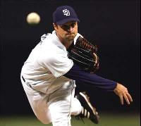 Brian Lawrence pitching for the Padres