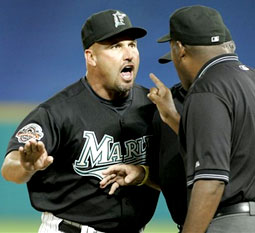 Florida Marlins Manager Fredi Gonzalez argues with the umpire