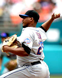 New York Mets pitcher Jorge Sosa delivers a pitch against the Florida Marlins