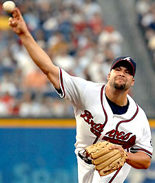 Atlanta Braves pitcher Kyle Davies delivers a pitch against the New York Mets