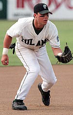 Jake Gautreau playing third base for Tulane