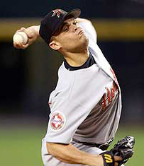 Wandy Rodriguez pitching for the Houston Astros