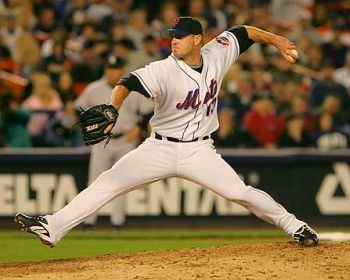 Mets pitcher Billy Wagner fires a pitch at Shea Stadium
