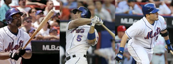 Mets Carlos Delgado, David Wright, and Paul LoDuca hit back to back to back homeruns in the sixth