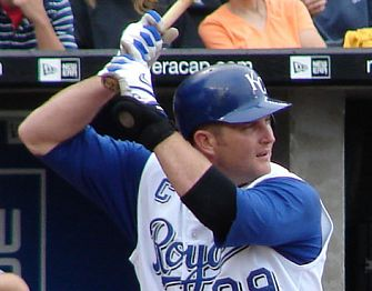 Royals first baseman and captain Mike Sweeney batting