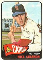Baseball card of Mike Shannon of the St. Louis Cardinals