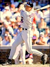 John Olerud swings for the New York Mets