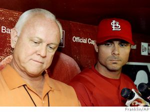 St. Louis Cardinals GM Walt Jocketty and slugger Rick Ankiel face the press