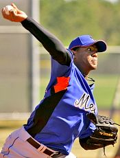 Marcos Carvajal pitching for the Mets in spring training