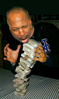 Willie Randolph playing Jenga
