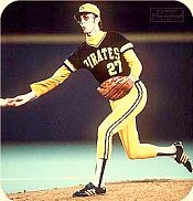 Kent Tekulve pitching for the Pittsburgh Pirates