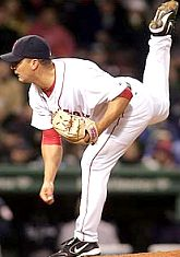 Keith Foulke pitching for the Boston Red Sox in 2004