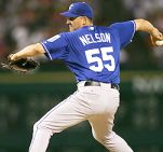 Joe Nelson pitching for the Kansas City Royals