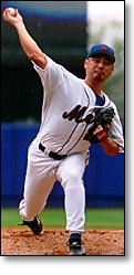 Masato Yoshii pitching for the New York Mets