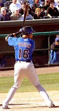 Angel Pagan hitting for the Mets