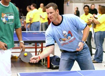 Jeff Conine playing table tennis - ping pong
