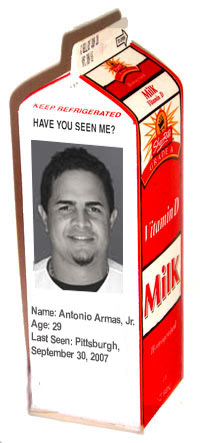 Milk carton with photo of Tony Armas Jr.