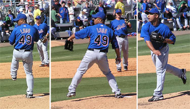 Ruddy Lugo pitching for the Mets