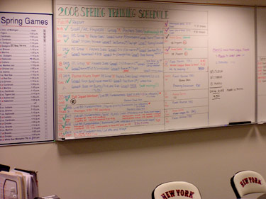 Mets Spring Training whiteboard