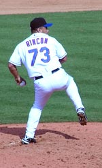 Ricardo Rincon pitching for the Mets in spring training at Port St. Lucie