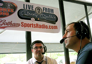 Joe Janish and Mark Healey recording Live From Mickey Mantle's radio show