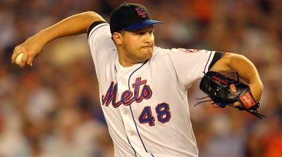 Aaron Heilman pitching for the New York Mets