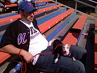 Blogmeister Joe Janish and best friend Lola in the bleachers at Shea Stadium