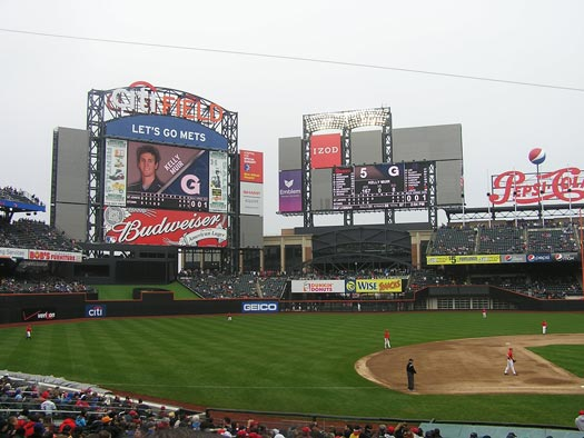 Citi Field Third Base View - Scoreboards