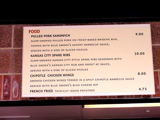 Citi Field Blue Smoke Menu