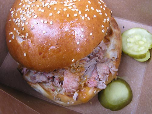 pulled pork sandwich at citi field from blue smoke