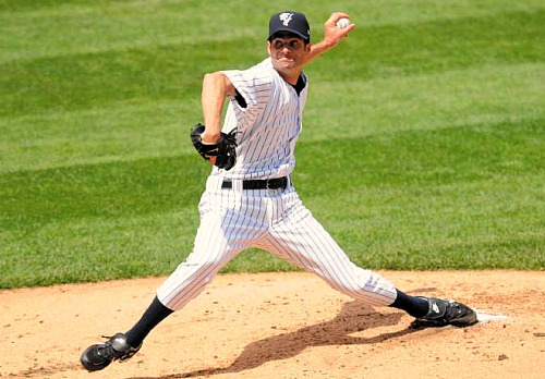 Casey Fossum pitching for the Scranton/Wilkes-Barre Yankees